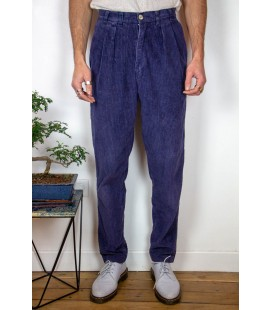 Pantalon à double pinces en velours