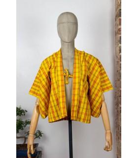 Kimono court à carreaux - Taille S femme