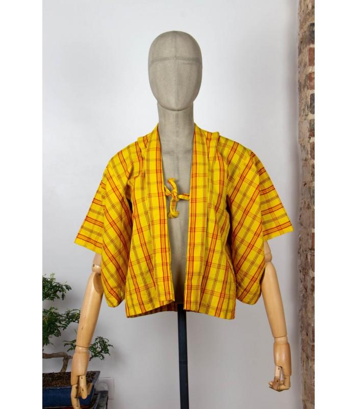 Kimono court à carreaux - Face