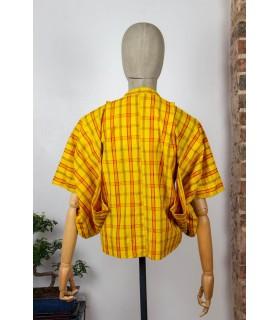 Kimono court à carreaux - Dos