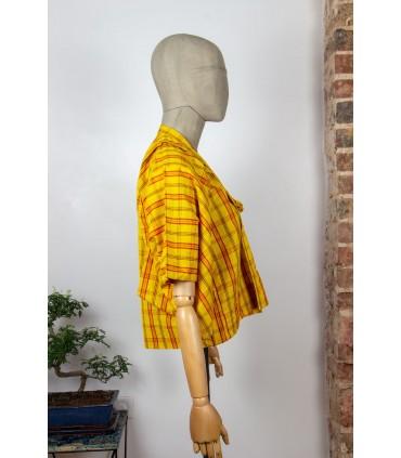 Kimono court à carreaux - Profil