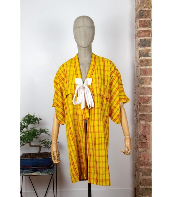 Kimono long à carreaux - Face